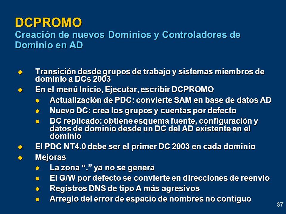 DCPROMO Creación de nuevos Dominios y Controladores de Dominio en AD