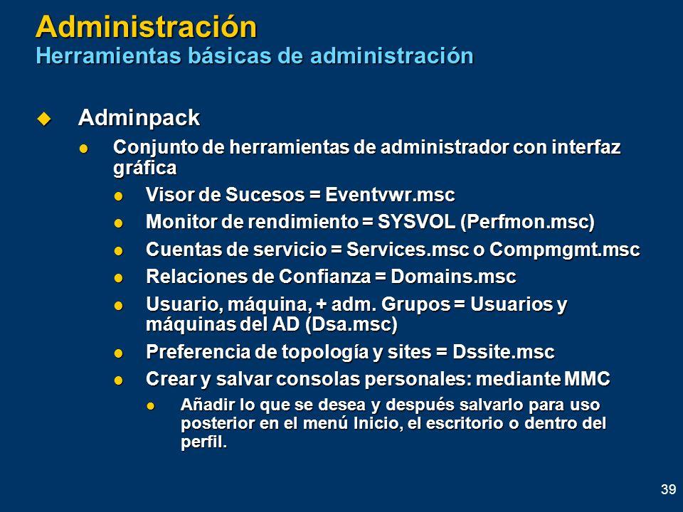 Administración Herramientas básicas de administración