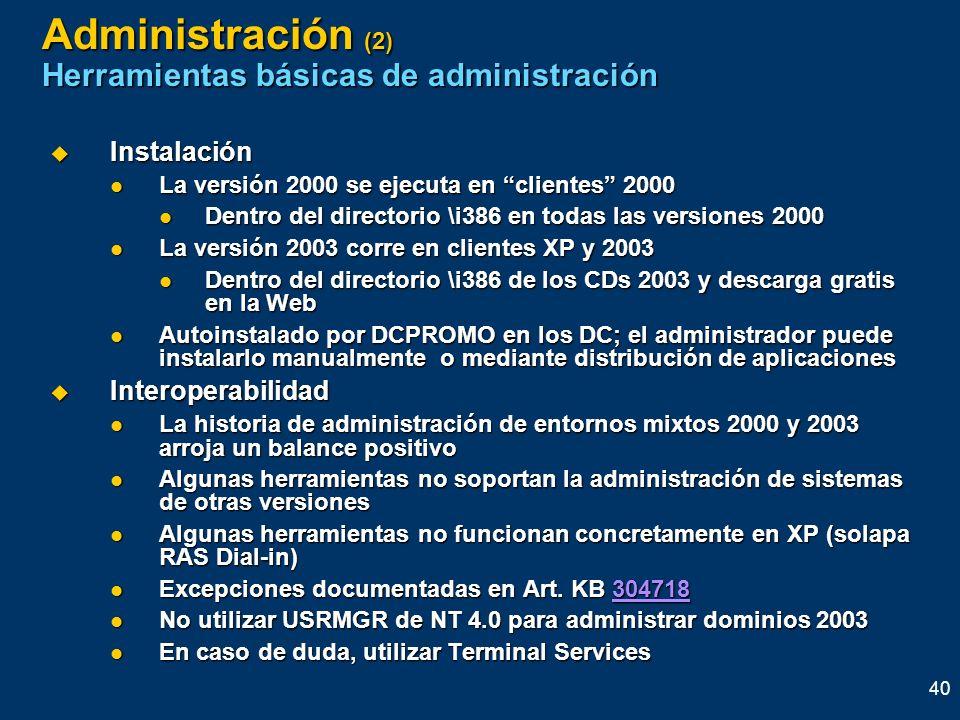 Administración (2) Herramientas básicas de administración