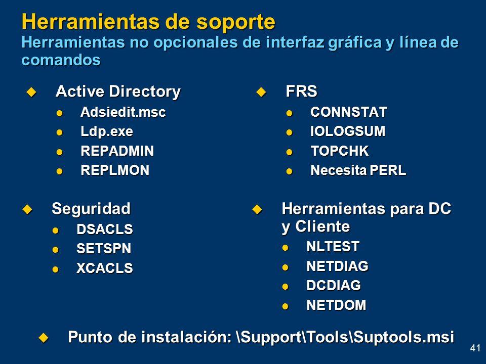 Herramientas de soporte Herramientas no opcionales de interfaz gráfica y línea de comandos
