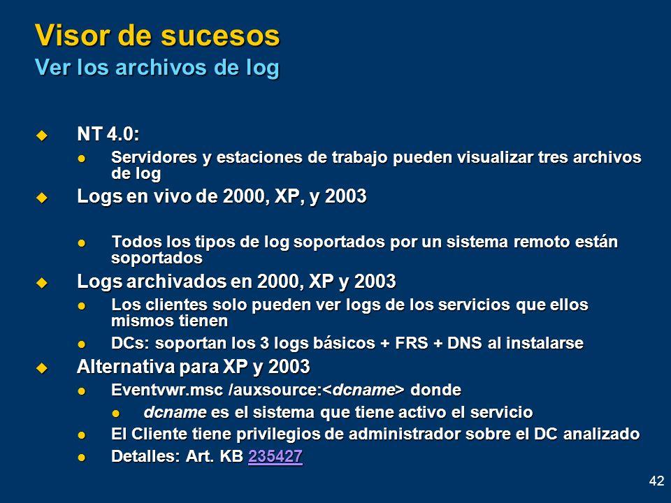 Visor de sucesos Ver los archivos de log