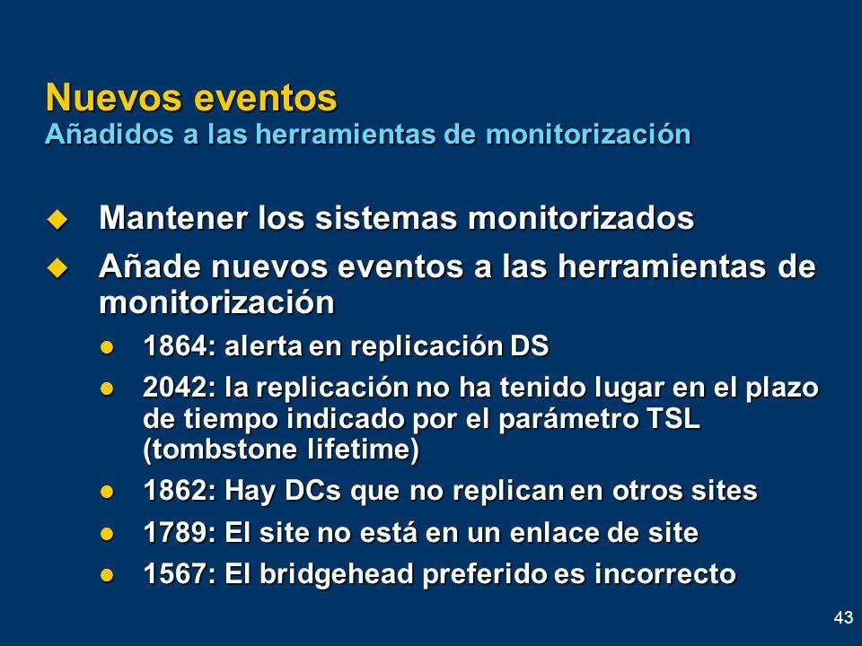 Nuevos eventos Añadidos a las herramientas de monitorización