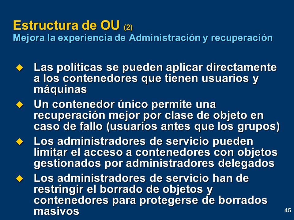 Estructura de OU (2) Mejora la experiencia de Administración y recuperación