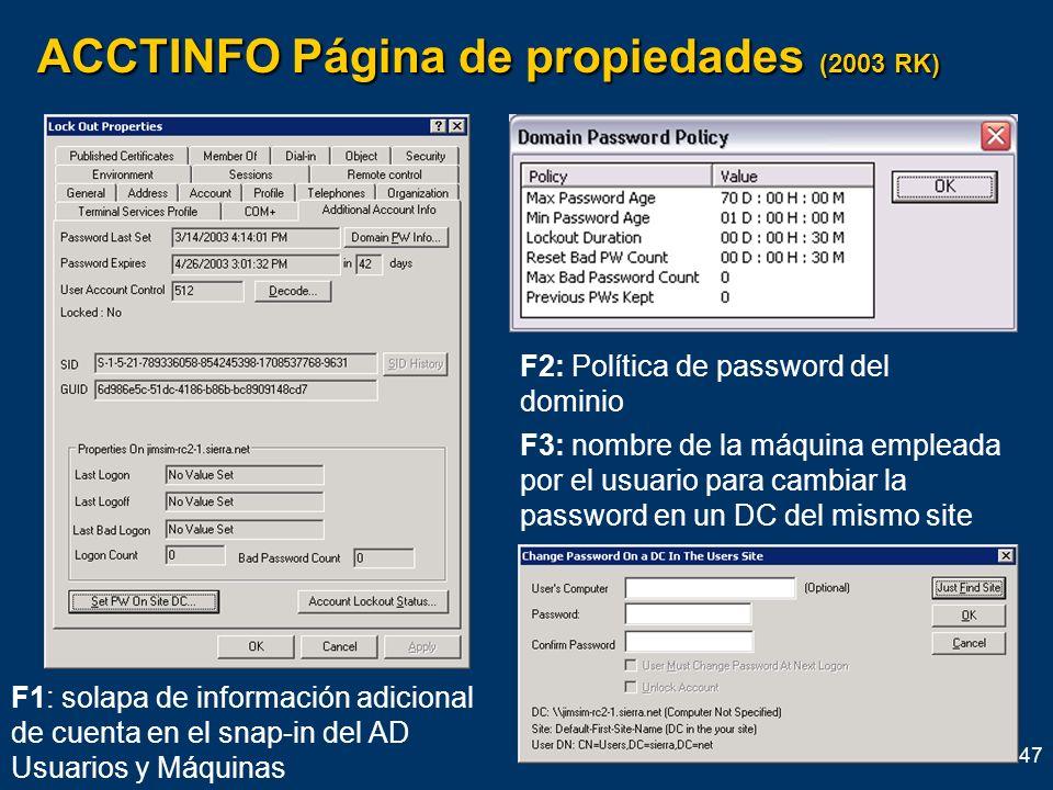 ACCTINFO Página de propiedades (2003 RK)