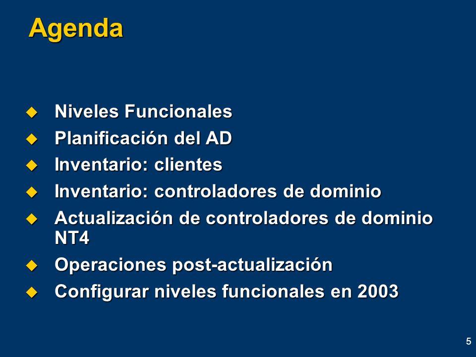 Agenda Niveles Funcionales Planificación del AD Inventario: clientes