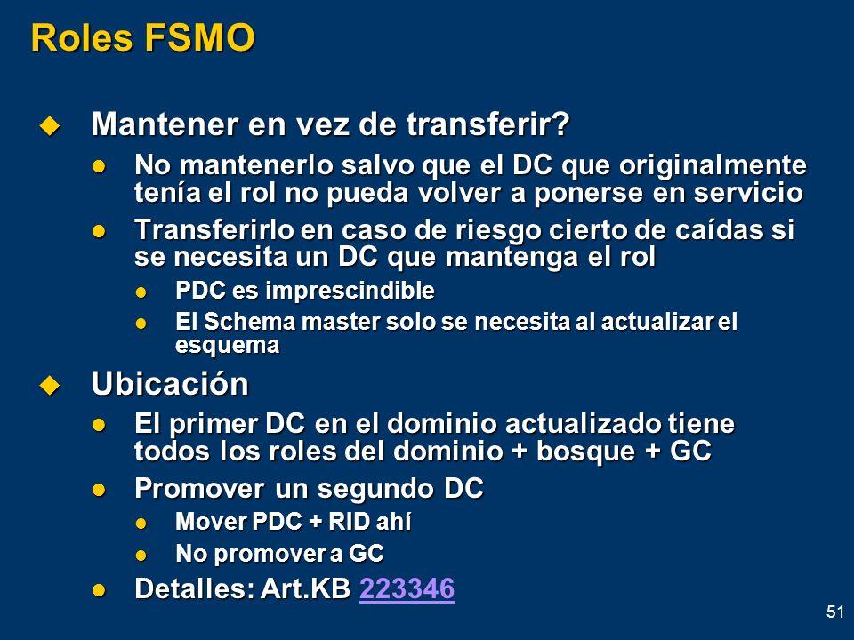 Roles FSMO Mantener en vez de transferir Ubicación