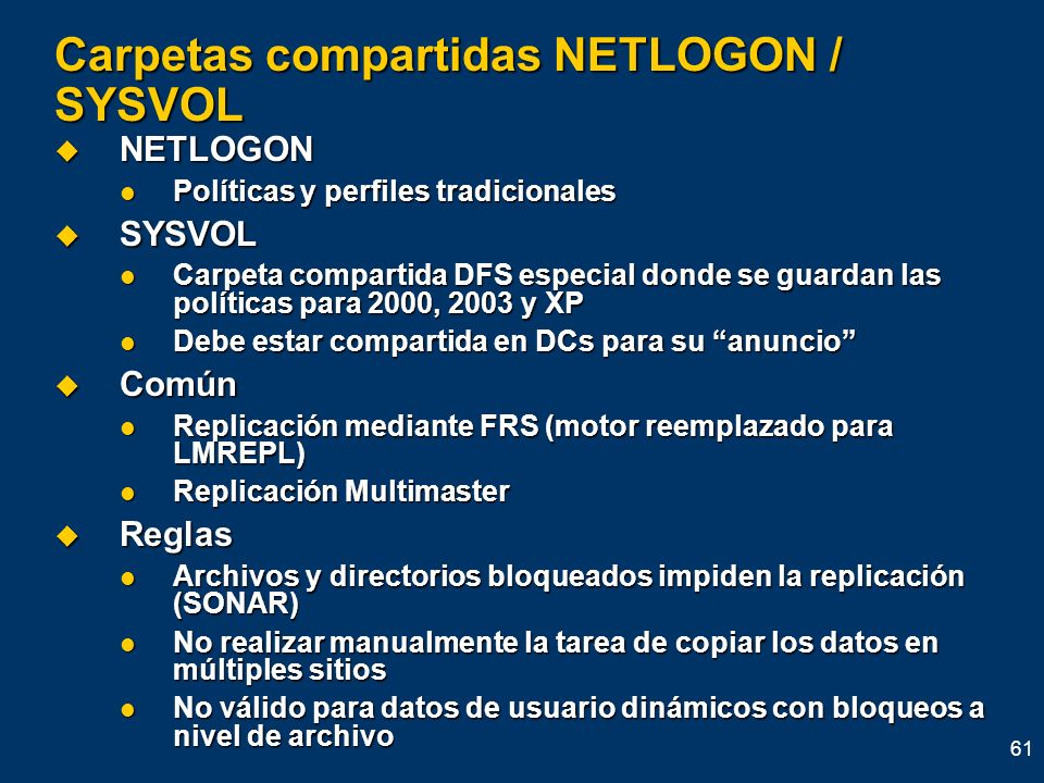 Carpetas compartidas NETLOGON / SYSVOL