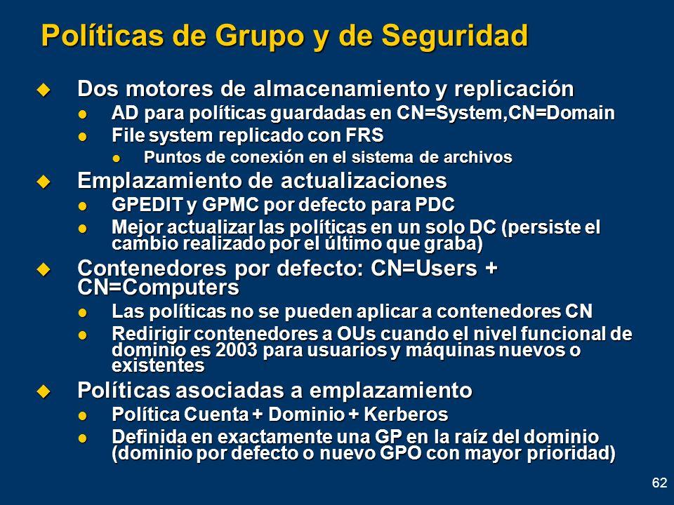 Políticas de Grupo y de Seguridad