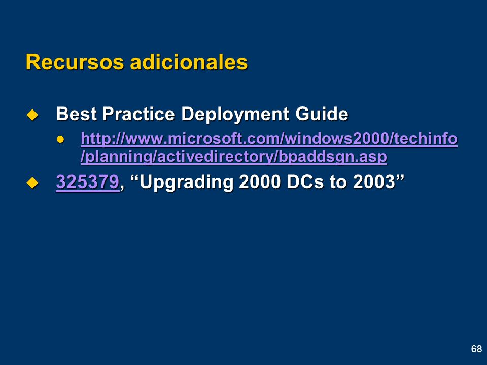 Recursos adicionales Best Practice Deployment Guide