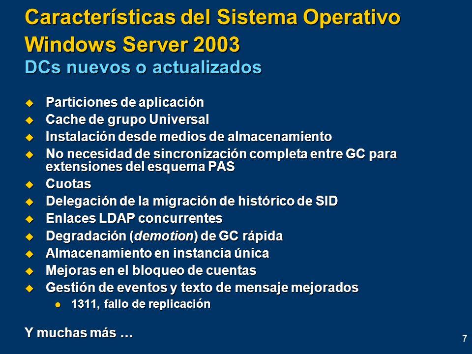 Características del Sistema Operativo Windows Server 2003 DCs nuevos o actualizados