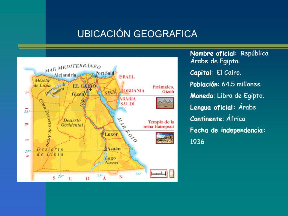 UBICACIÓN GEOGRAFICA Nombre oficial: República Árabe de Egipto.