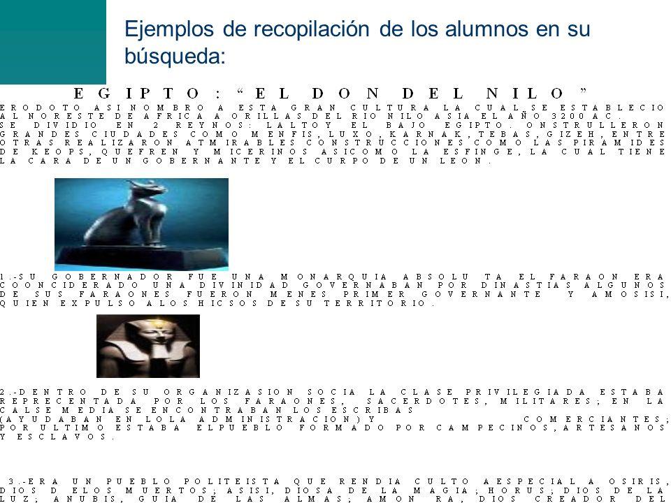 Ejemplos de recopilación de los alumnos en su búsqueda: