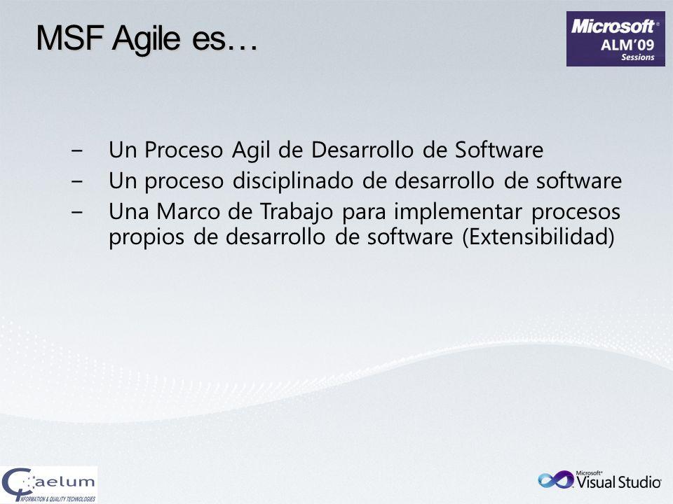 MSF Agile es… Un Proceso Agil de Desarrollo de Software