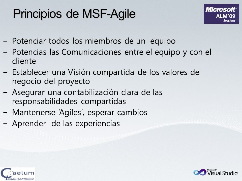 Principios de MSF-Agile
