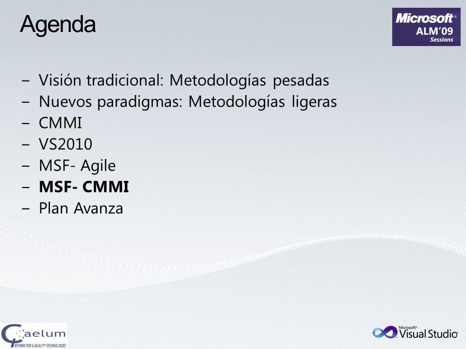 Agenda Visión tradicional: Metodologías pesadas