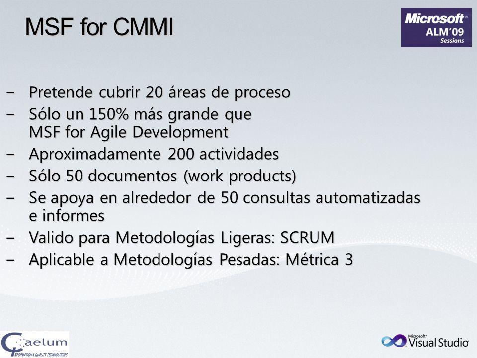 MSF for CMMI Pretende cubrir 20 áreas de proceso