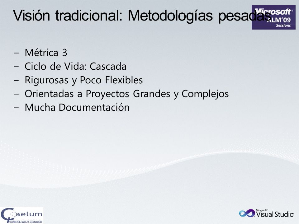 Visión tradicional: Metodologías pesadas
