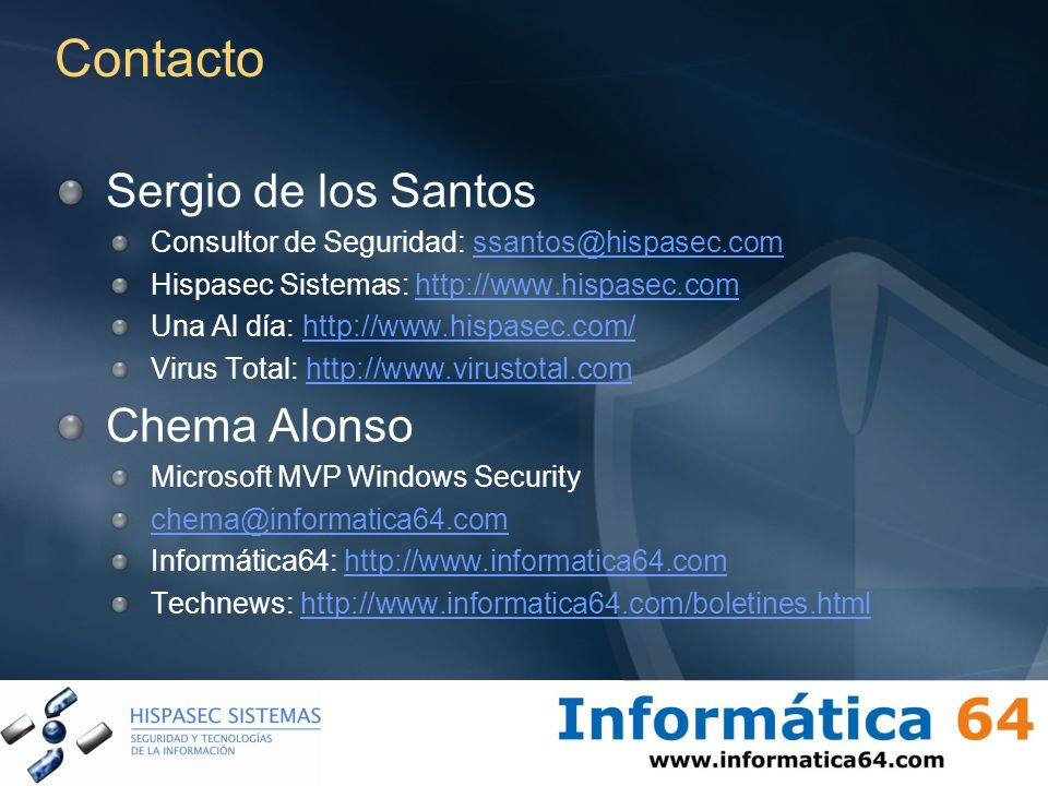 Contacto Sergio de los Santos Chema Alonso