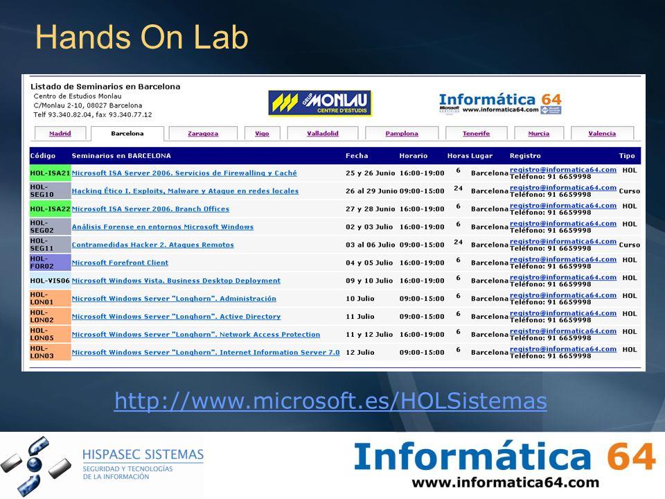 Hands On Lab http://www.microsoft.es/HOLSistemas