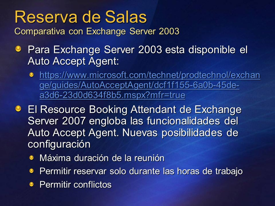 Reserva de Salas Comparativa con Exchange Server 2003