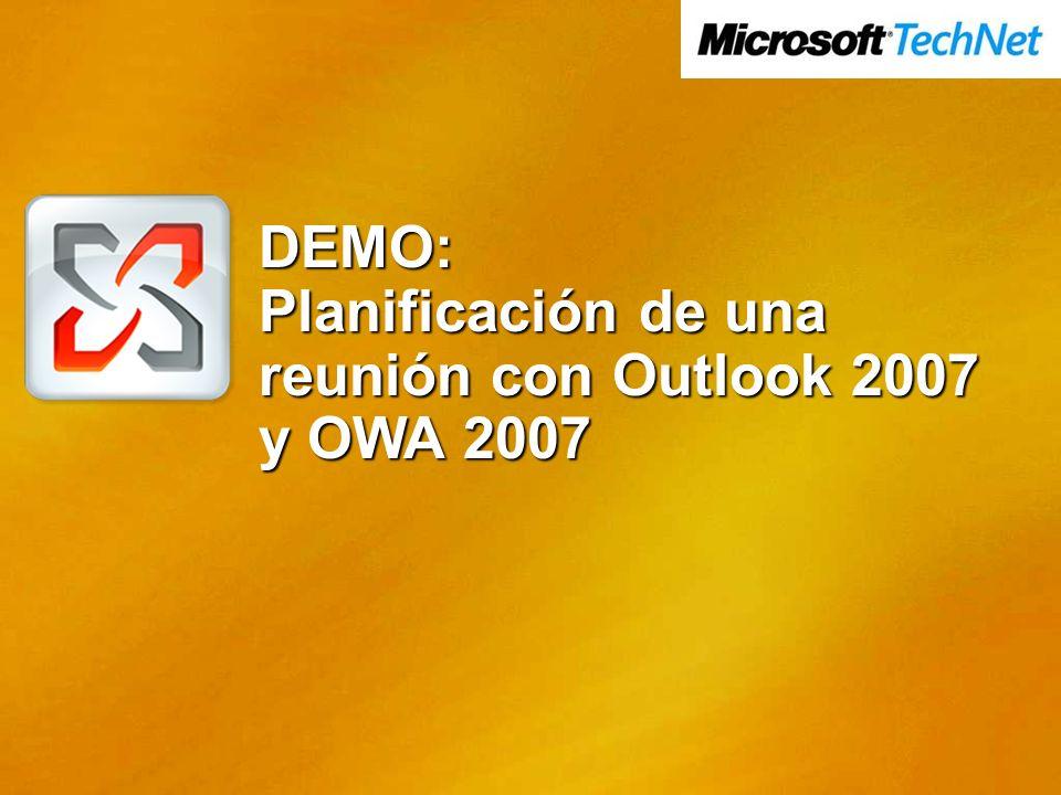 DEMO: Planificación de una reunión con Outlook 2007 y OWA 2007