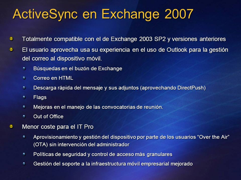 ActiveSync en Exchange 2007