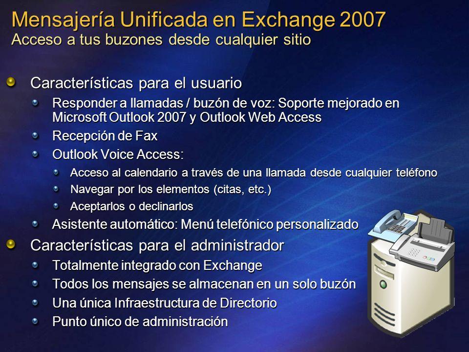 Mensajería Unificada en Exchange 2007 Acceso a tus buzones desde cualquier sitio