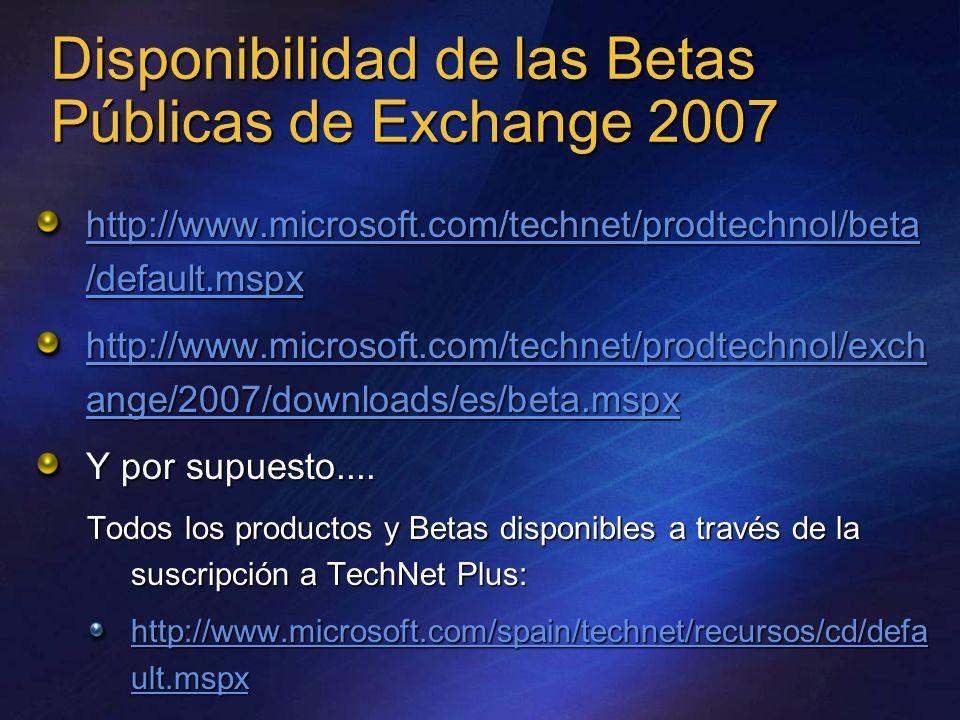 Disponibilidad de las Betas Públicas de Exchange 2007