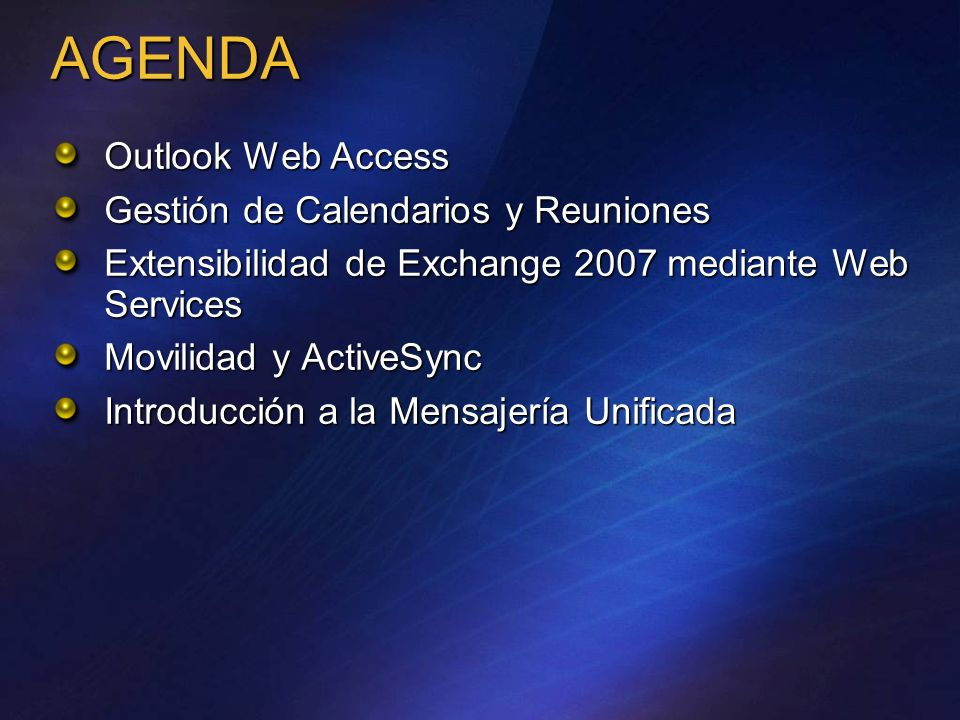 AGENDA Outlook Web Access Gestión de Calendarios y Reuniones