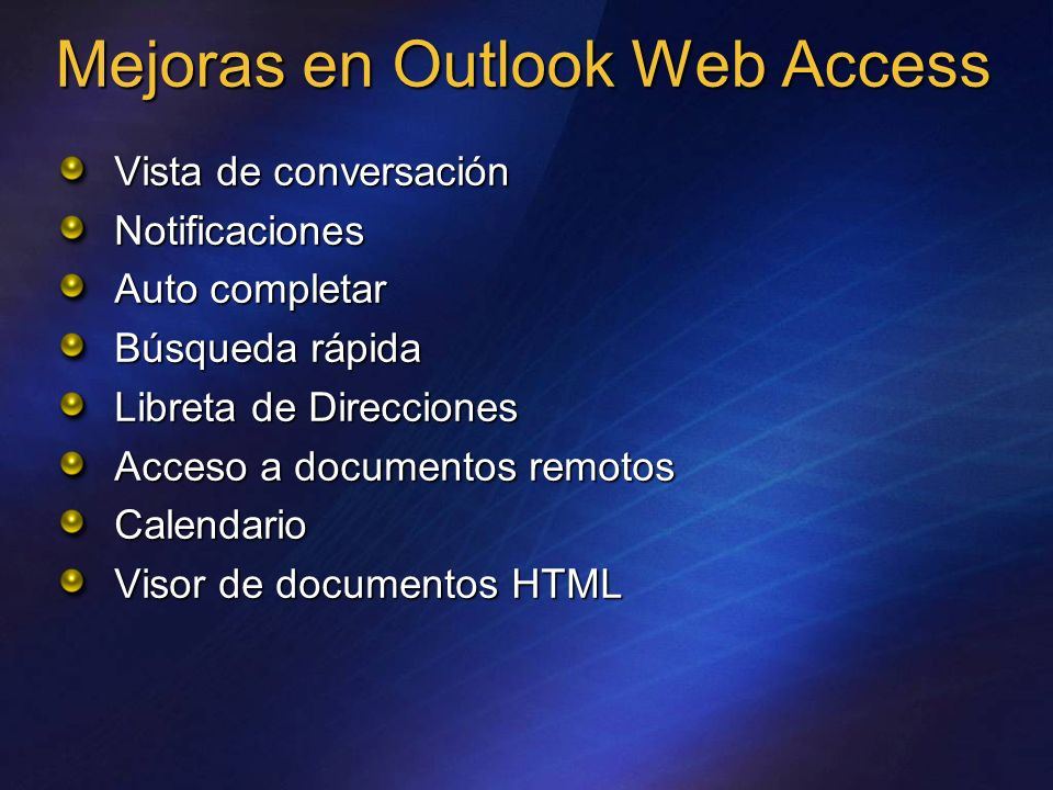 Mejoras en Outlook Web Access