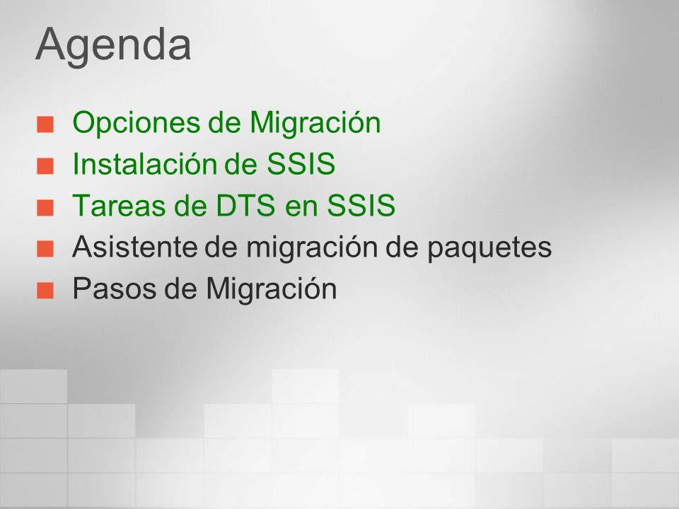 Agenda Opciones de Migración Instalación de SSIS Tareas de DTS en SSIS