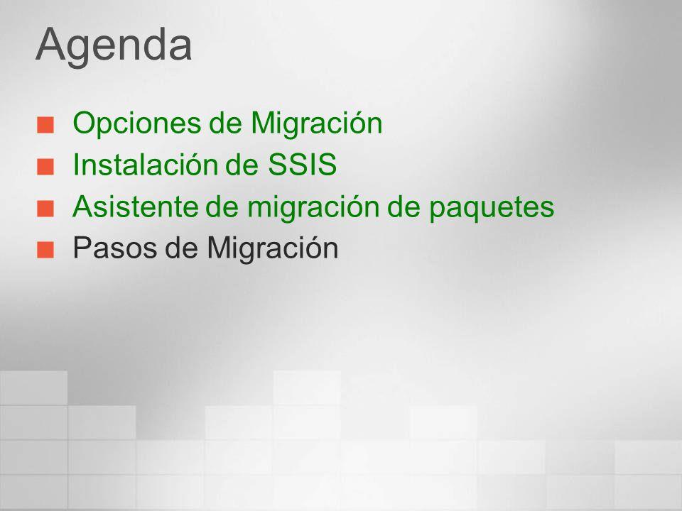 Agenda Opciones de Migración Instalación de SSIS