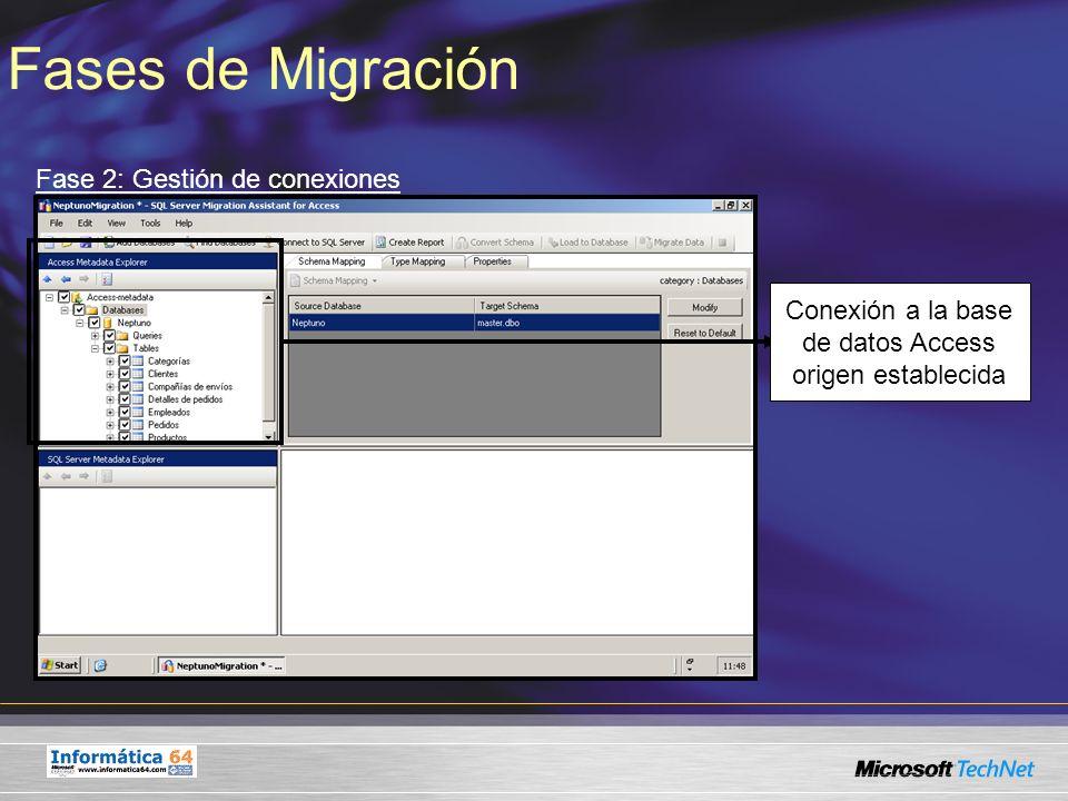 Fases de Migración Fase 2: Gestión de conexiones Conexión a la base