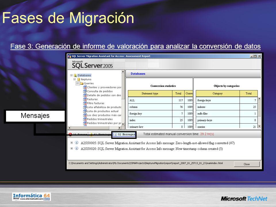 Fases de Migración Fase 3: Generación de informe de valoración para analizar la conversión de datos.