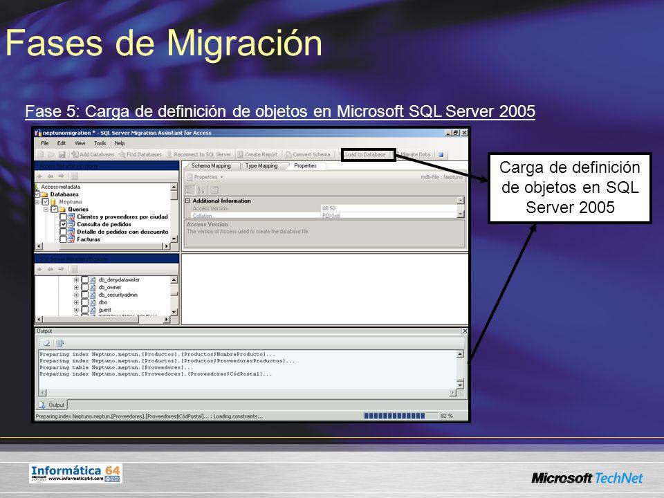 Carga de definición de objetos en SQL Server 2005