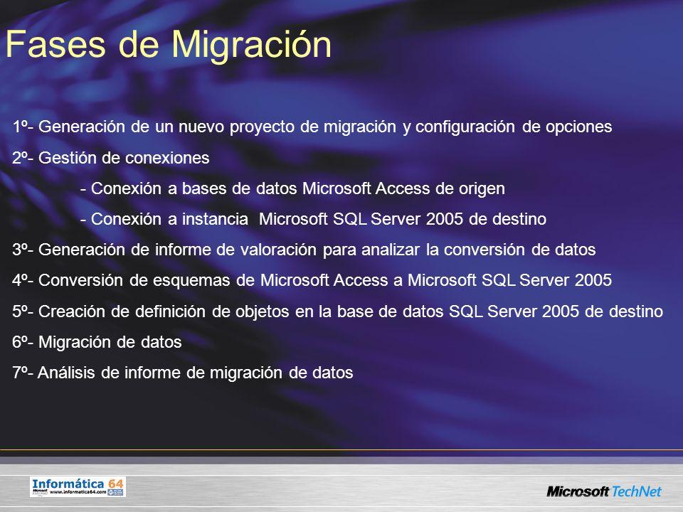 Fases de Migración 1º- Generación de un nuevo proyecto de migración y configuración de opciones. 2º- Gestión de conexiones.