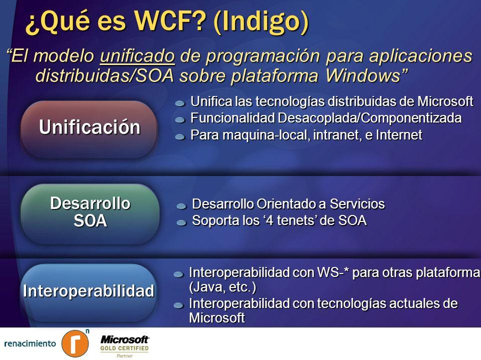¿Qué es WCF (Indigo) Unificación