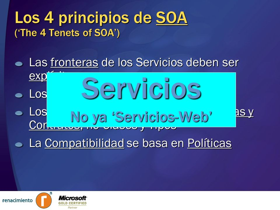 Los 4 principios de SOA ('The 4 Tenets of SOA')