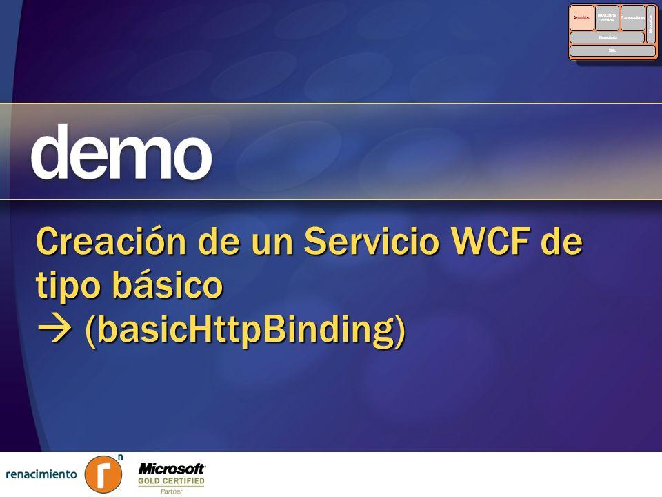 Creación de un Servicio WCF de tipo básico  (basicHttpBinding)