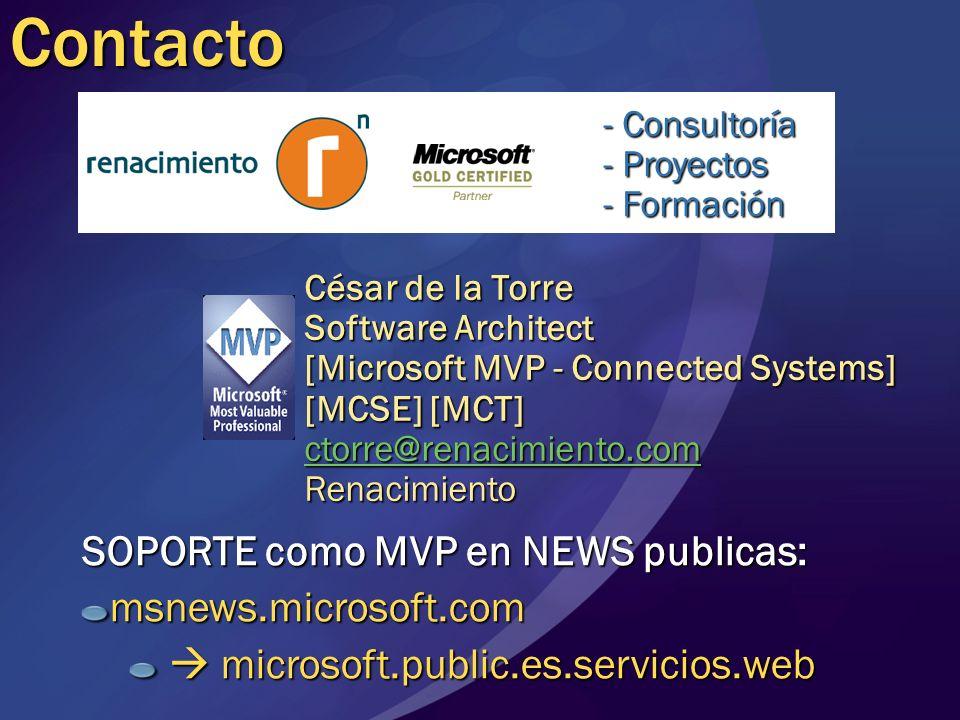 Contacto SOPORTE como MVP en NEWS publicas: msnews.microsoft.com