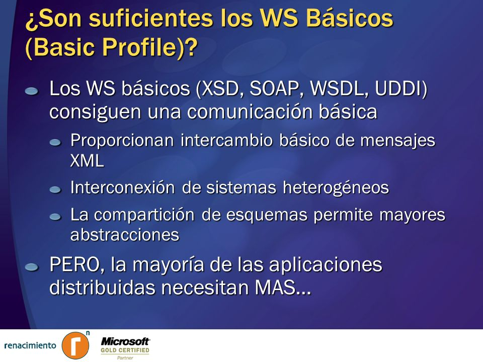 ¿Son suficientes los WS Básicos (Basic Profile)