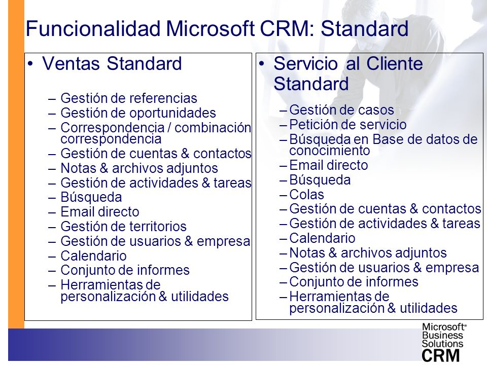 Funcionalidad Microsoft CRM: Standard