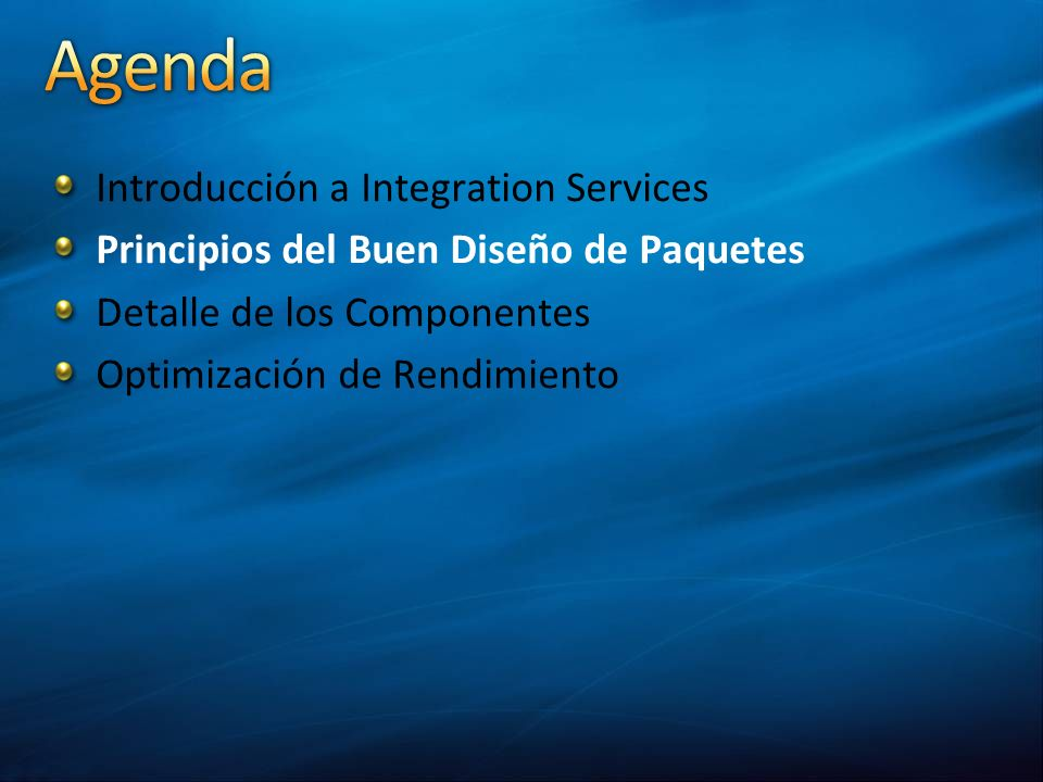 Agenda Introducción a Integration Services