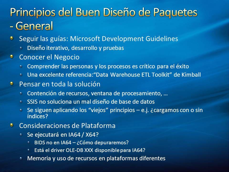 Seguir las guías: Microsoft Development Guidelines Conocer el Negocio