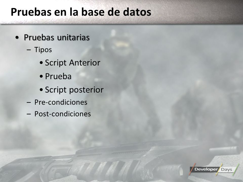 Pruebas en la base de datos