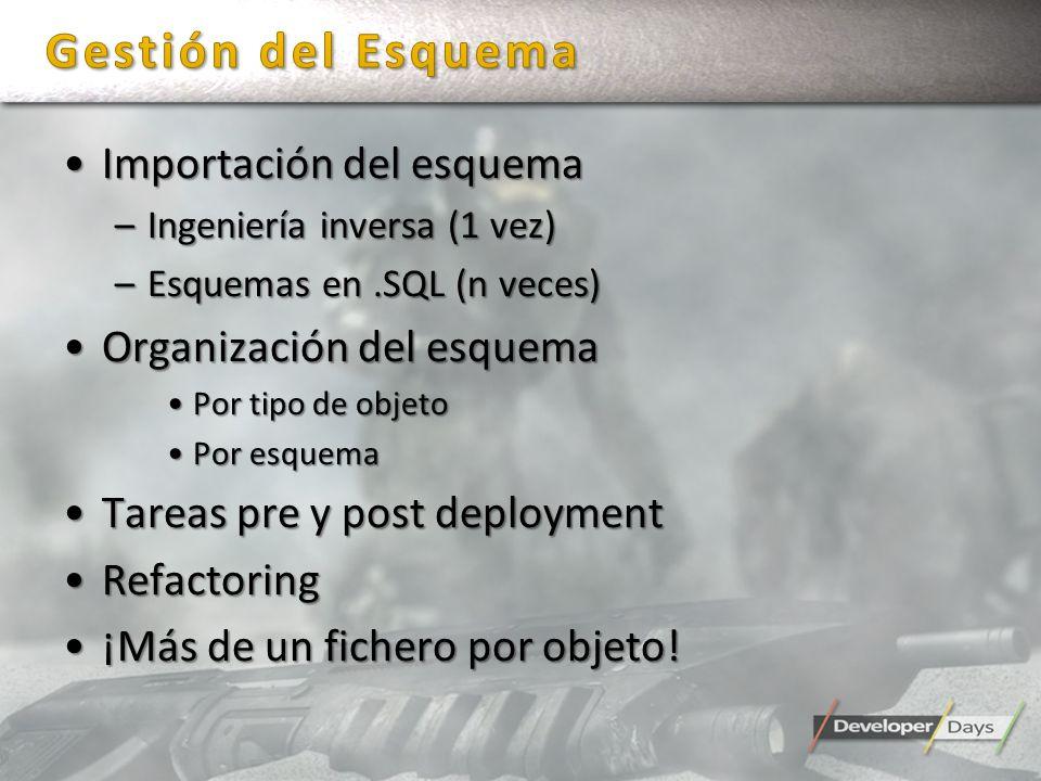 Gestión del Esquema Importación del esquema Organización del esquema