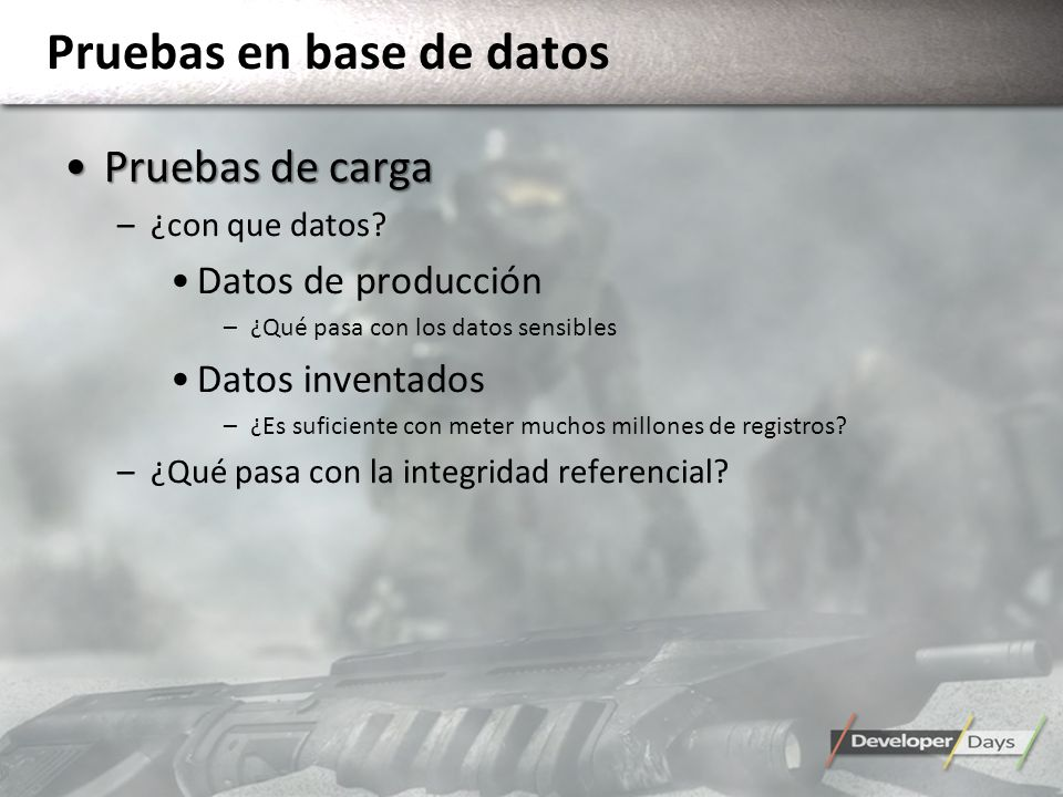 Pruebas en base de datos