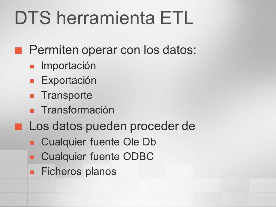DTS herramienta ETL Permiten operar con los datos: