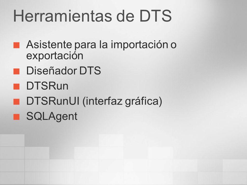 Herramientas de DTS Asistente para la importación o exportación