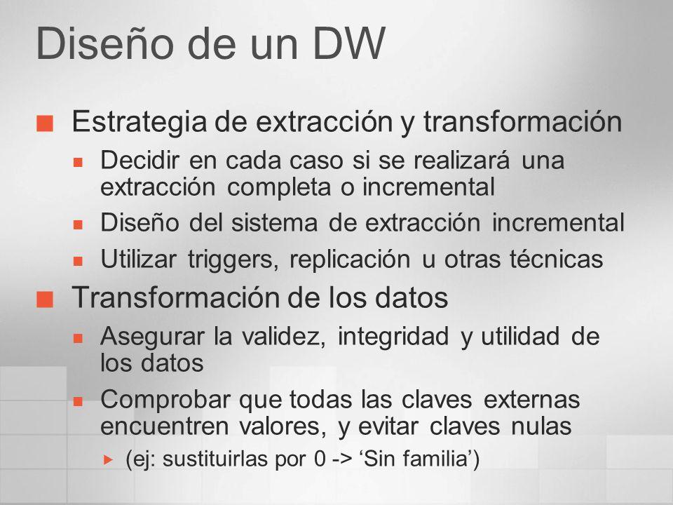 Diseño de un DW Estrategia de extracción y transformación